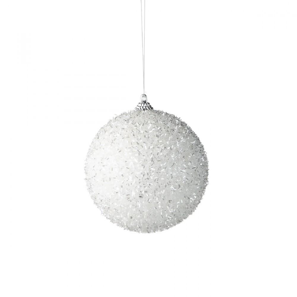 Sfera Appendibile Floccata In Colore Bianco E Argento. Diametro 10 Cm.