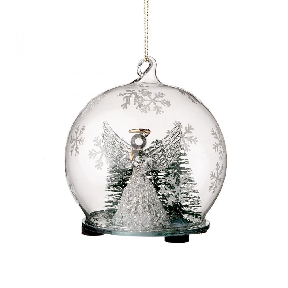 Sfera Appendibile In Vetro Trasparente Con Decorazioni Bianche, All'interno è Presente Un Angelo In Vetro Illuminato. Diametro 10 Cm. Con Batteria Inclusa.