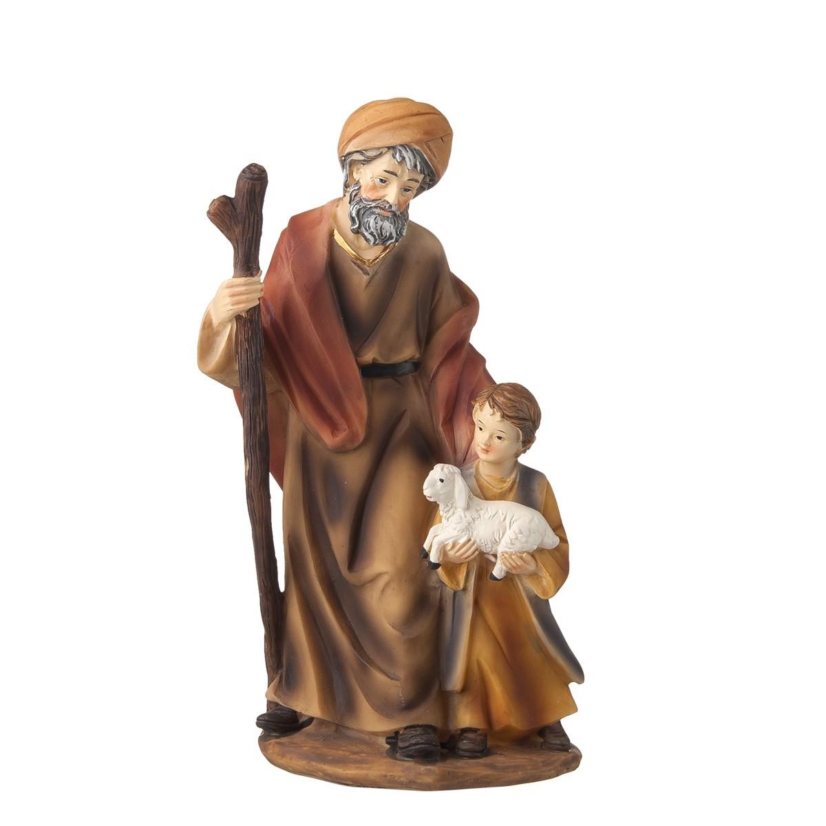 Statuetta Pastore Con Bimbo E Agnello H20