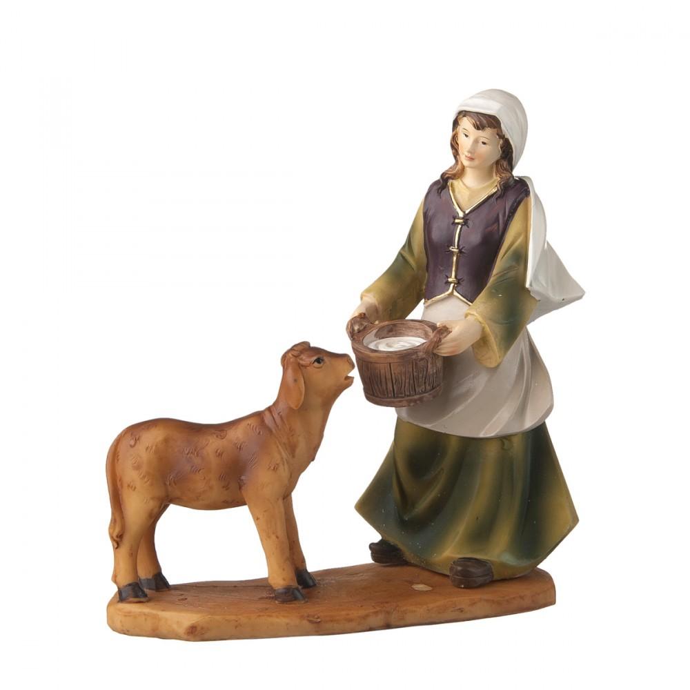 Donna Con Vitello E Latte In Resina Per Presepe H20