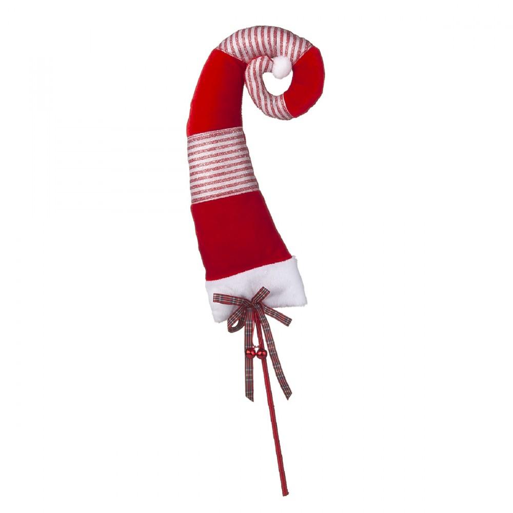 Pick Decorativo Con Cappello Da Elfo Morbido. Altezza Decorazione 38 Cm, Altezza Totale 60 Cm.