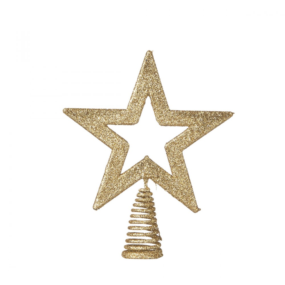 Puntale Per Albero Di Natale A Forma Di Stella Bidimensionale Oro Glitterata. Altezza 15 Cm