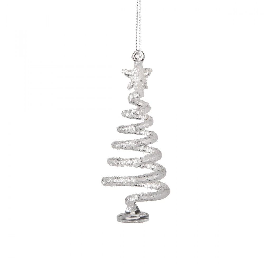 Decorazione Appendibile O Da Appoggio In Vetro. Con Glitter Argento- Altezza 10 Cm.