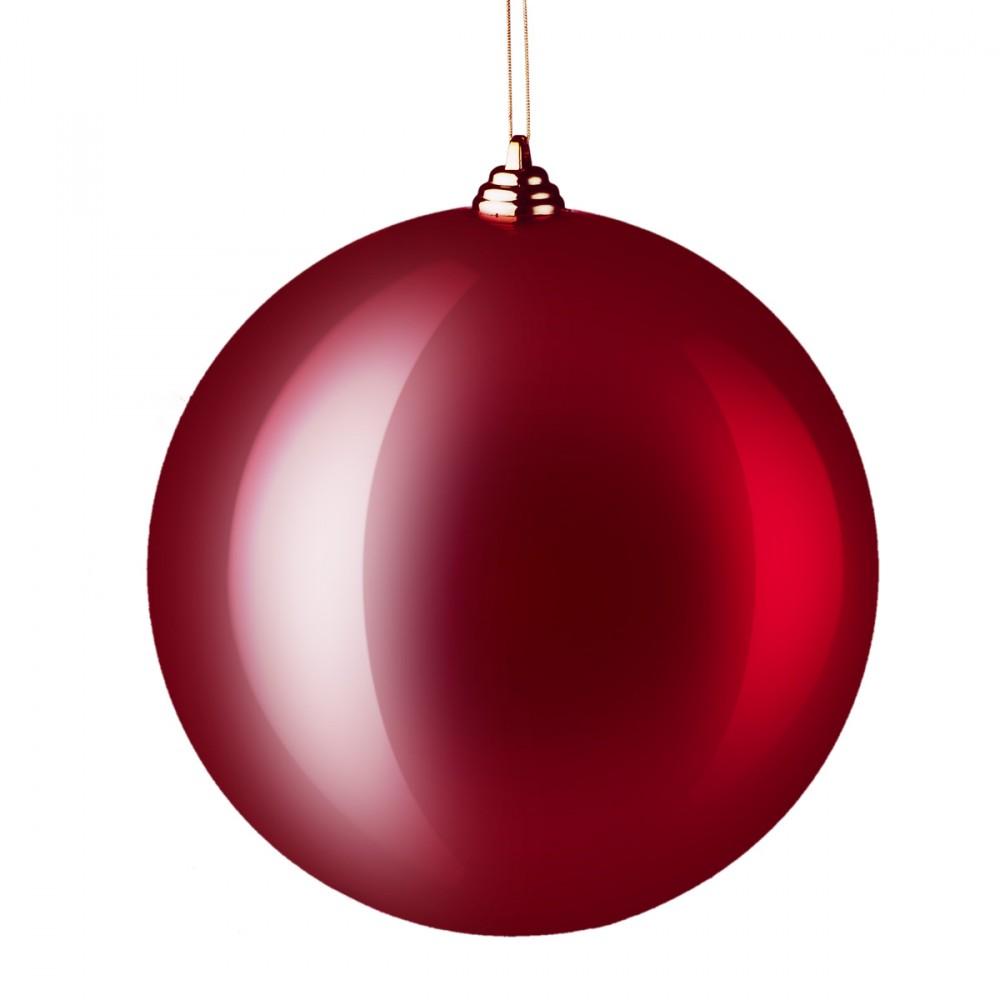 Sfera Appendibile In Plastica Di Colore Rosso Lucido. Diametro 20 Cm.