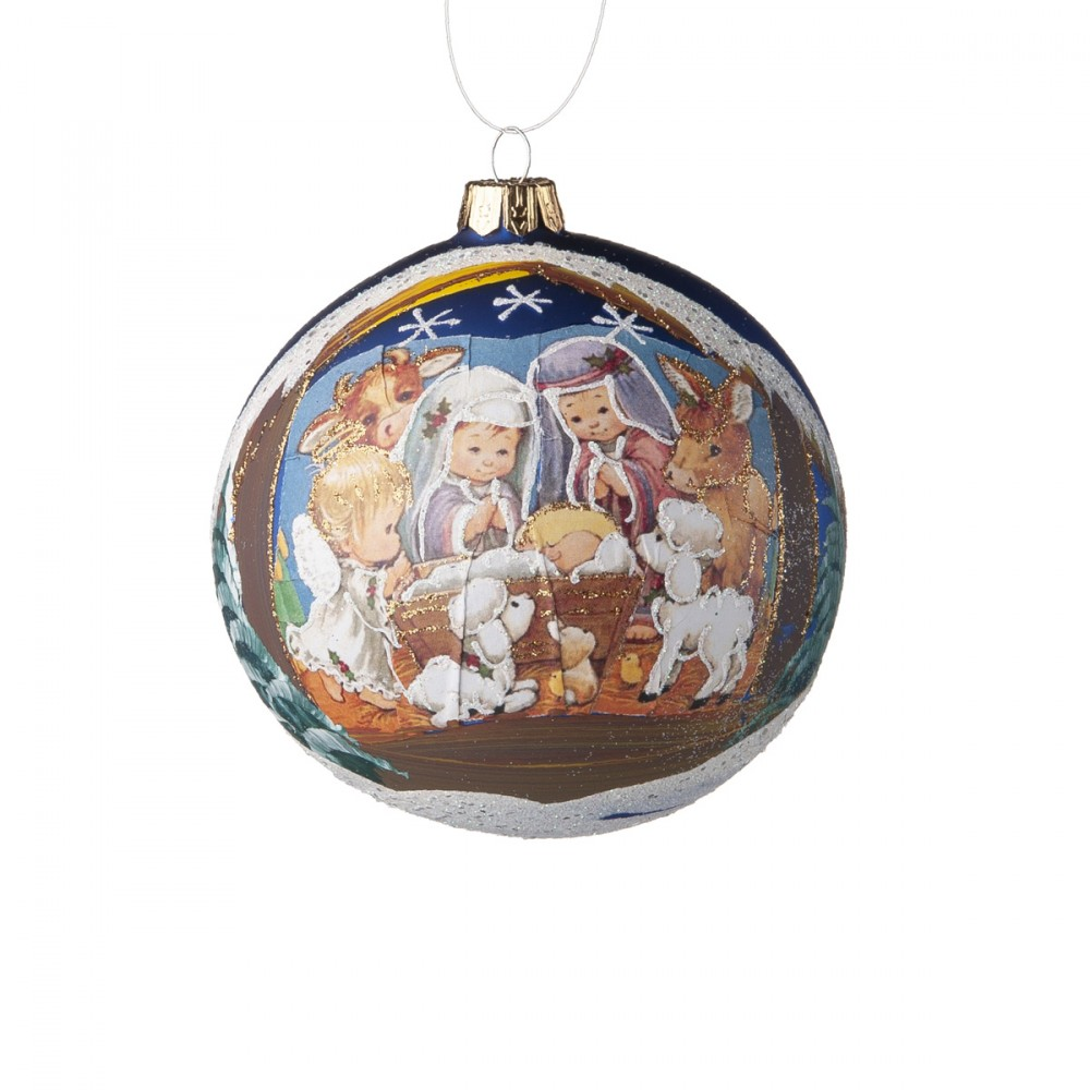 Sfera Appendibile In Vetro Blu Opaco Soffiata E Decorata A Mano Con Natività E Glitter. Diametro 10 Cm.