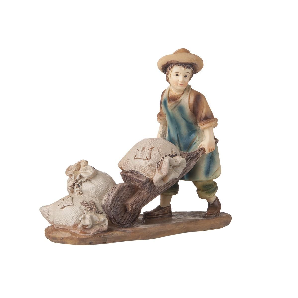 Statuetta Uomo Con Carriola H12
