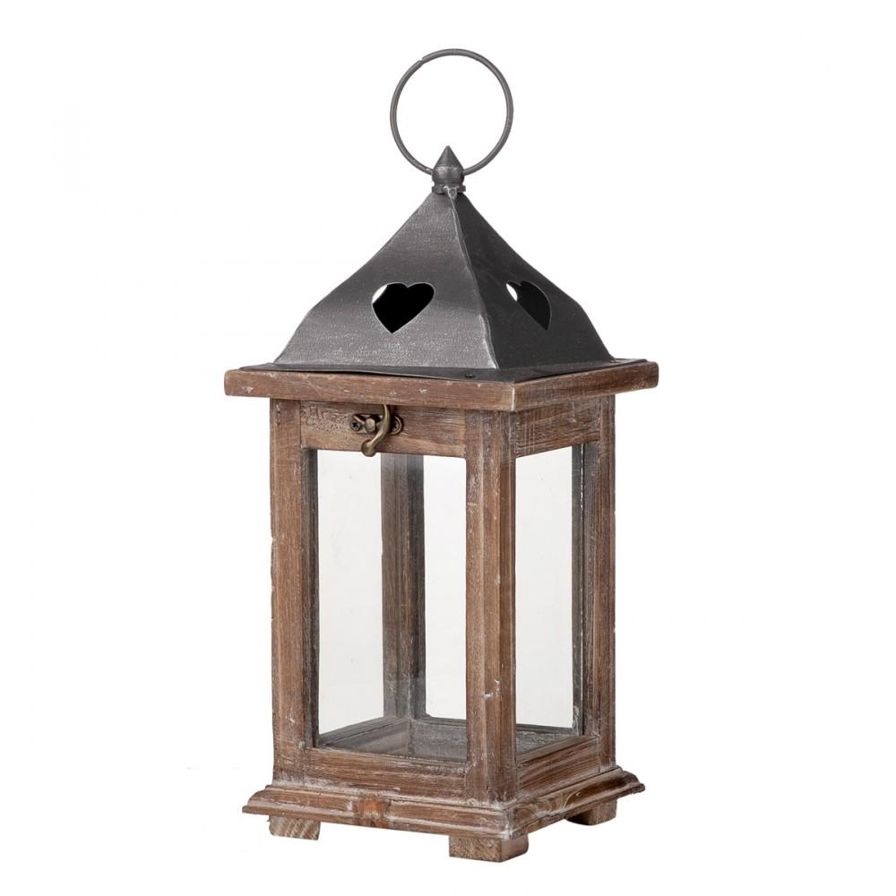 Lanterna In Legno E Vetro, Con Tetto E Anello In Metallo Per Appenderla. Dimensioni 14,5 X 14,5 X H 31,5 Cm.