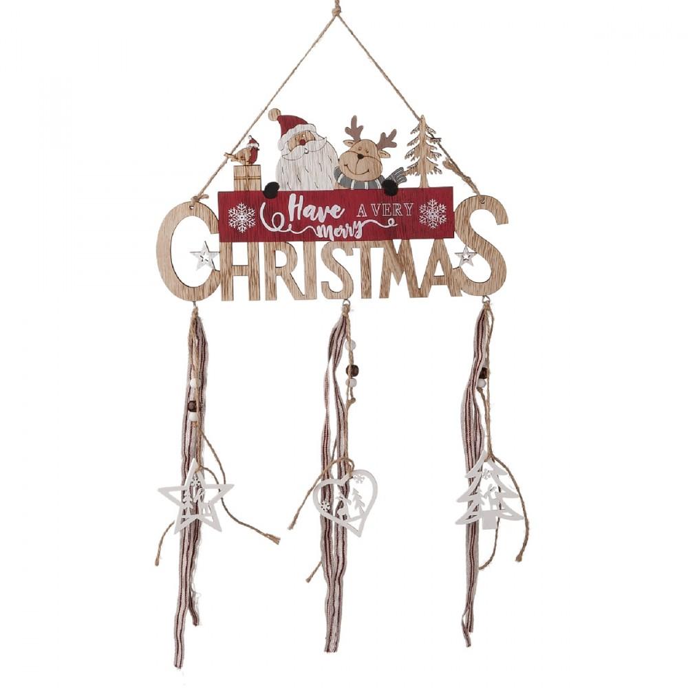 Decorazione Appendibile Fuoriporta Con Scritta  Have A Merry Christmas  In Legno Colorato. Dimensioni 27xh53 Cm.
