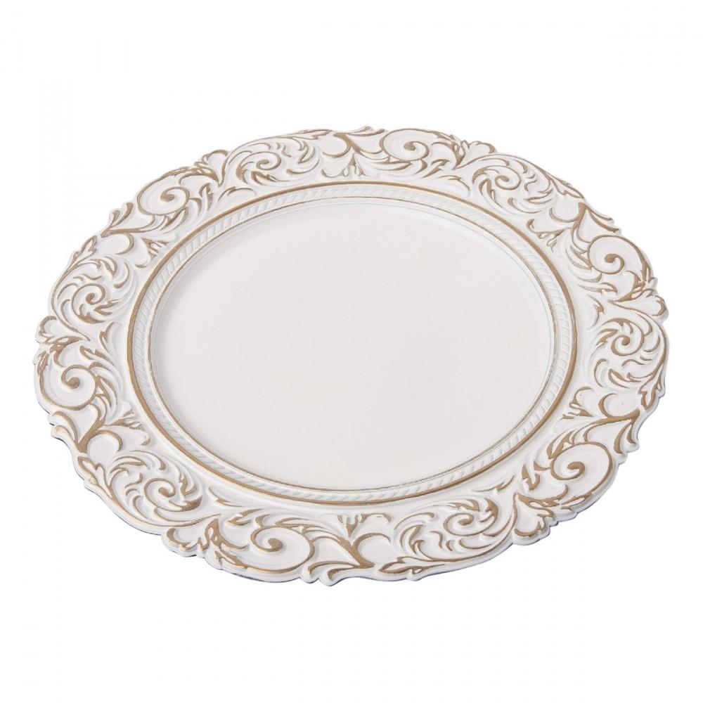 Sottopiatto Bianco In Plastica Diametro 33 Cm. Non Adatto All'uso Alimentare