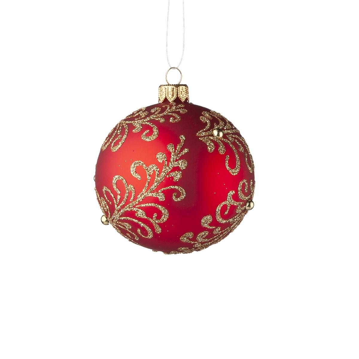 Sfera In Vetro Rosso Con Perle Oro Diam. 8