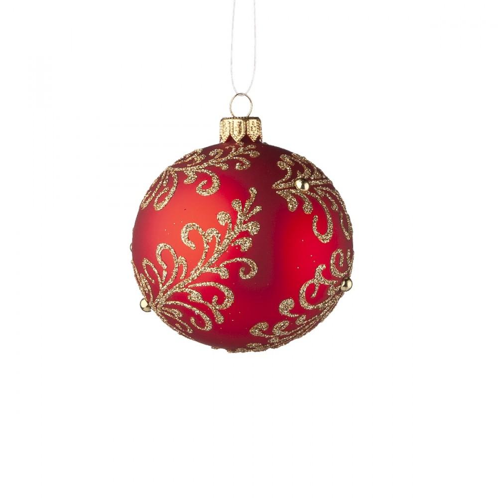 Sfera Appendibile In Vetro Opaco Rosso Con Decorazioni Natalizie Glitterate E Perline Colore Oro. Diametro 8 Cm.