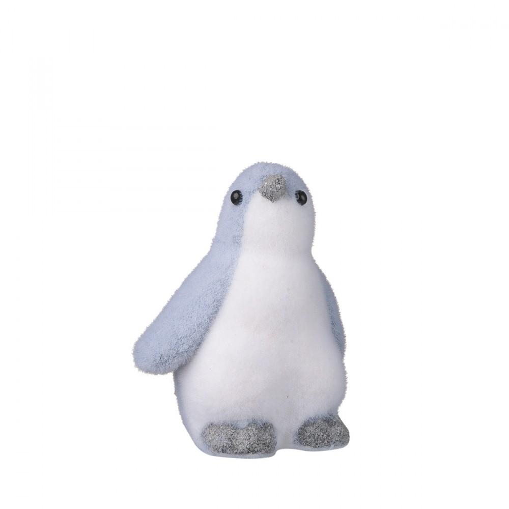Pinguino Decorativo Grigio Floccato Altezza 20 Cm.