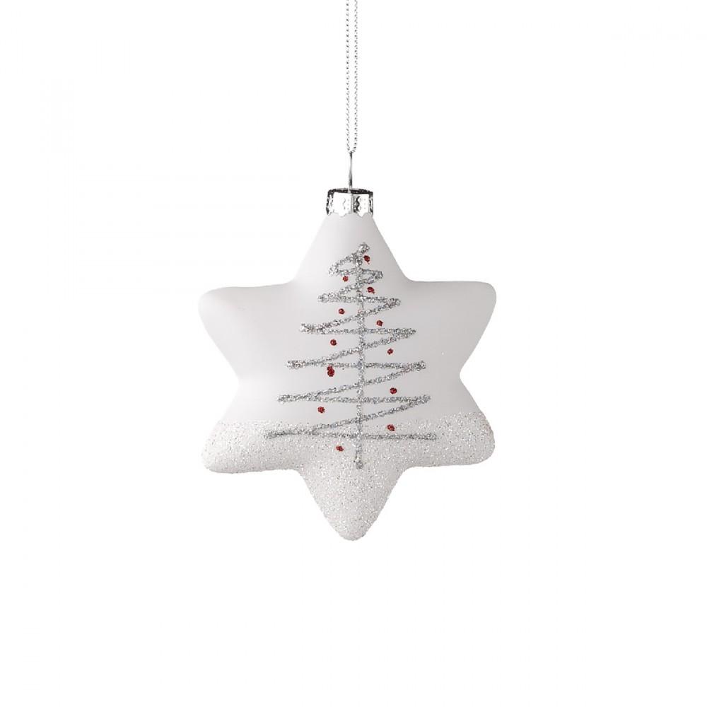 Stella Appendibile In Vetro Opaco Bianco Con Decorazioni Glitterate In Colore Bianco E Iridescente. Larghezza 9 Cm.
