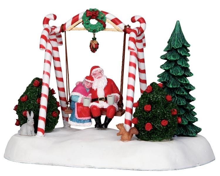 Altalena Di Babbo Natale In Resina Che Dondola Avanti E Indietro 'santa Swing', Di Lemax.
