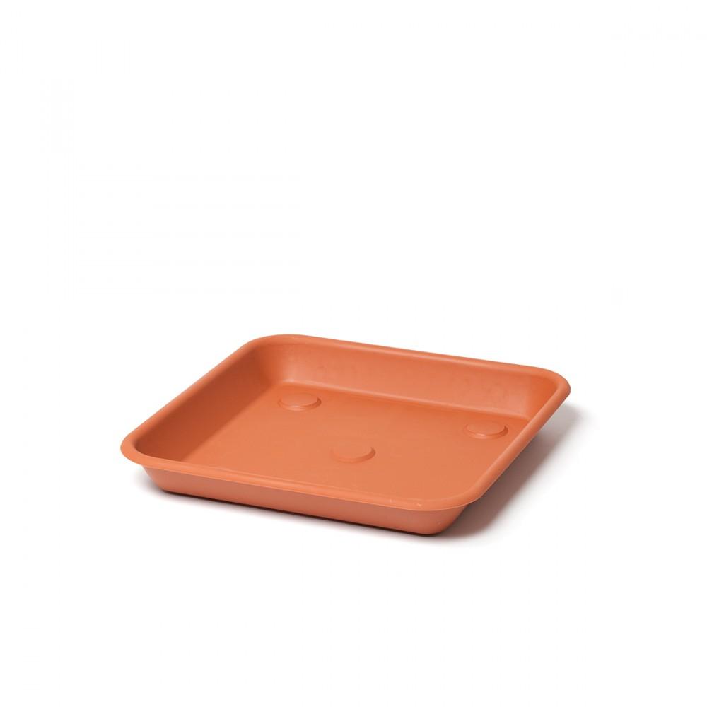 Sottovaso Quadrato Omnia Color Terracotta. Abbinabile Al Vaso Quadrato Della Linea Terrae, Sia Nella Versione Semplice Che In Quella Maxi.