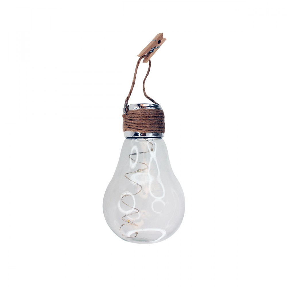 Lampadina Appendibile In Vetro Che Si Illumina Grazie Ad Una Batteria A Ricarica Solare.