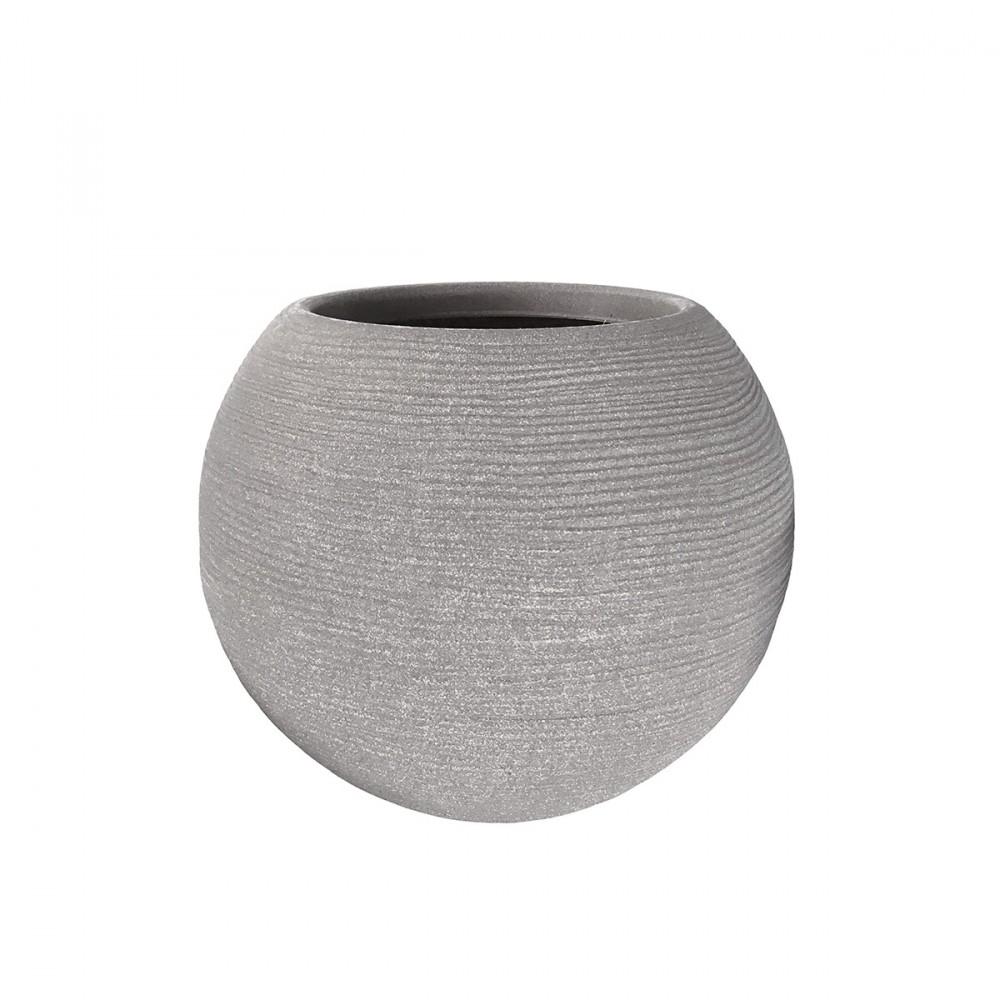 Vaso In Plastica Color Corda Di Forma Sferica E Rigato. Disponibile Con Diametro: 40cm.