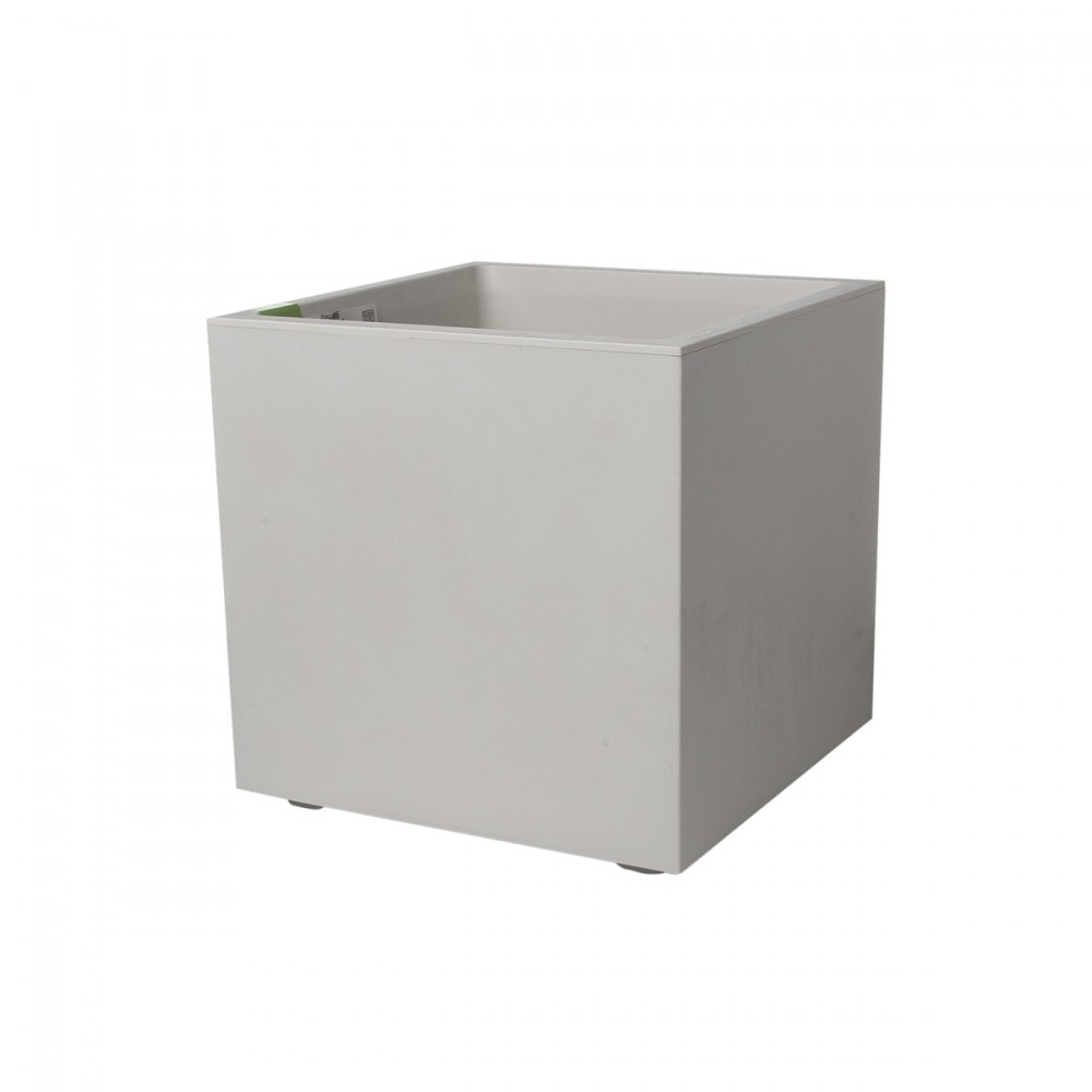 Cassetta Millennium Cubica Con Doppio Fondo Per Riserva D'acqua, Color Perla. Texture Con Effetto Opaco/cemento, Dal Design Raffinato. Disponibile In Più Misure.