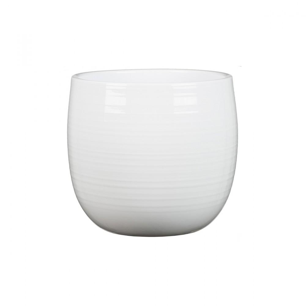 Vaso Bianco Dal Design Moderno, Con Piccolissime Scanalature, Per Orchidee E Piante Da Interno.