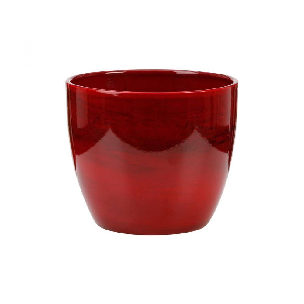 Vaso Color Rosso Effetto Marmo Dal Design Semplice, Ideale Per Ambienti Interni.