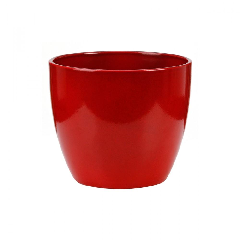 Vaso Color Rosso Intenso Dal Design Semplice, Ideale Per Ambienti Interni. Modello Disponibile In Altre Colorazioni.