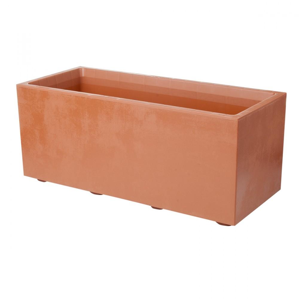 Cassetta Con Doppio Fondo Per Riserva D'acqua, Color Corten. Texture Con Effetto Opaco/cemento, Dal Design Raffinato. Disponibile In Due Diverse Misurazioni: 59 O 79 Cm.