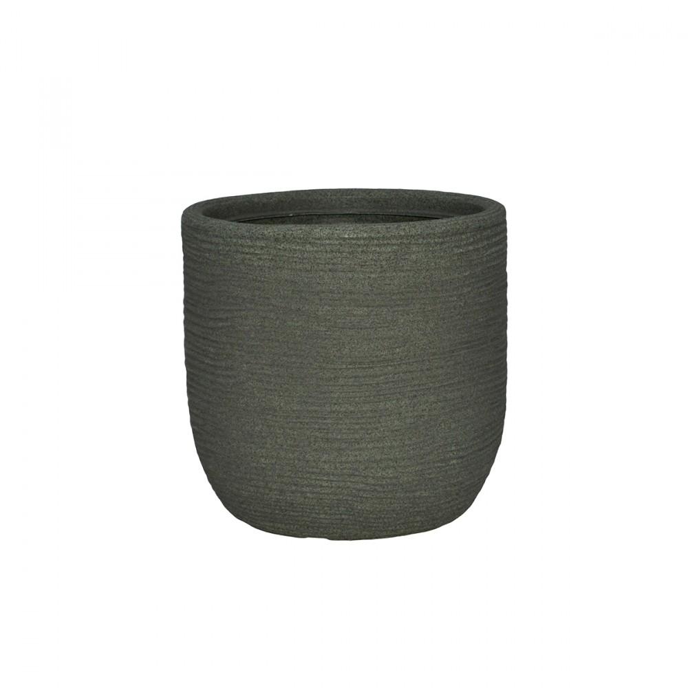 Vaso In Plastica Color Verde, Telcom - Class Collection. Dalla Forma Arrotondata, A Conchiglia, Questo Vaso Dal Design Rustico è Disponibile In Due Diversi Diametri: 27cm E 35cm.