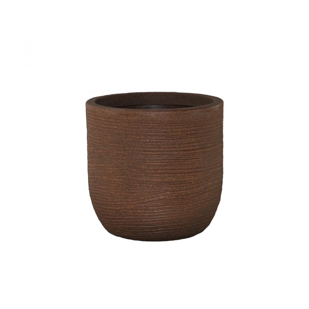 Vaso In Plastica Color Marrone, Telcom - Class Collection. Dalla Forma Arrotondata, A Conchiglia, Questo Vaso Dal Design Rustico è Disponibile In Diversi Diametri: Da 27cm A 45cm.