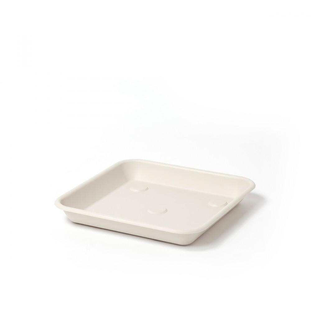 Sottovaso Quadrato Omnia Color Bianco Pietra. Abbinabile Al Vaso Quadrato Della Linea Terrae, Sia Nella Versione Semplice Che In Quella Maxi.