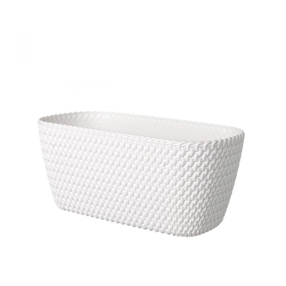 Portavasi A Forma Rettangolare, Colore Bianco, In Plastica. Motivi Decorativi In Rilievo Con Effetto Intreccio.