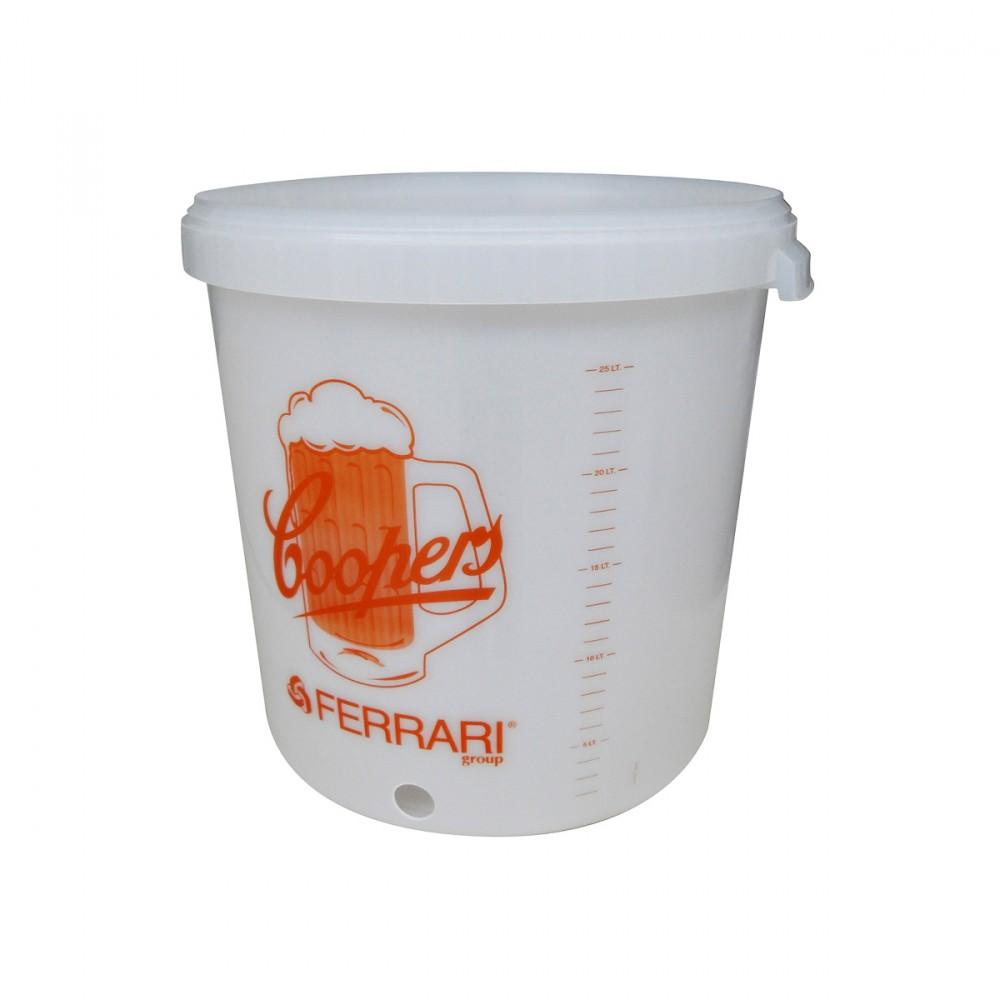 Contenitore Per Fermentazione Di Birra, Sidro, Etc., In Plastica, Con Capacità 32 Litri E Forato Per Inserimento Rubinetto.