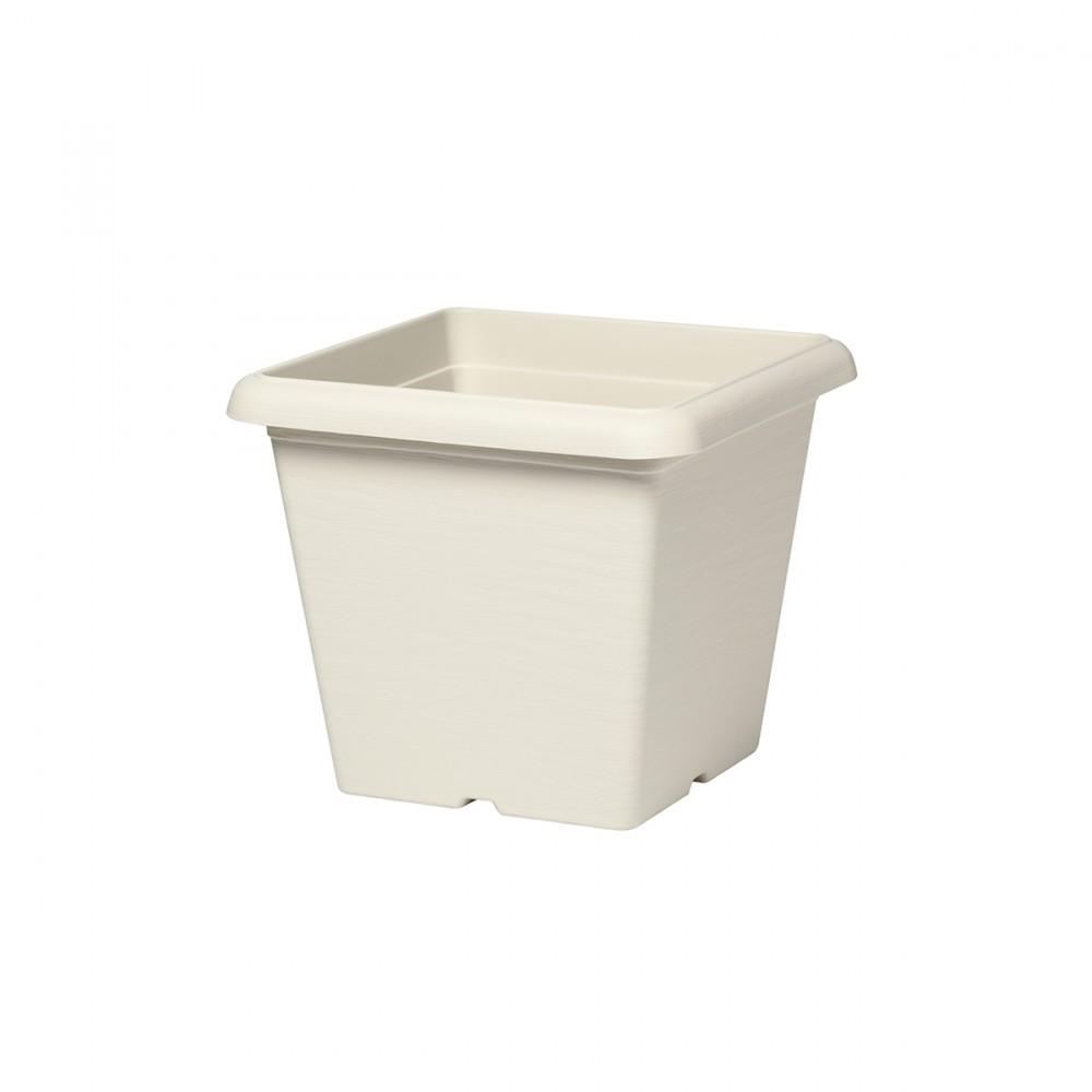 Vaso Quadrato Da 35 Cm Color Bianco Pietra.