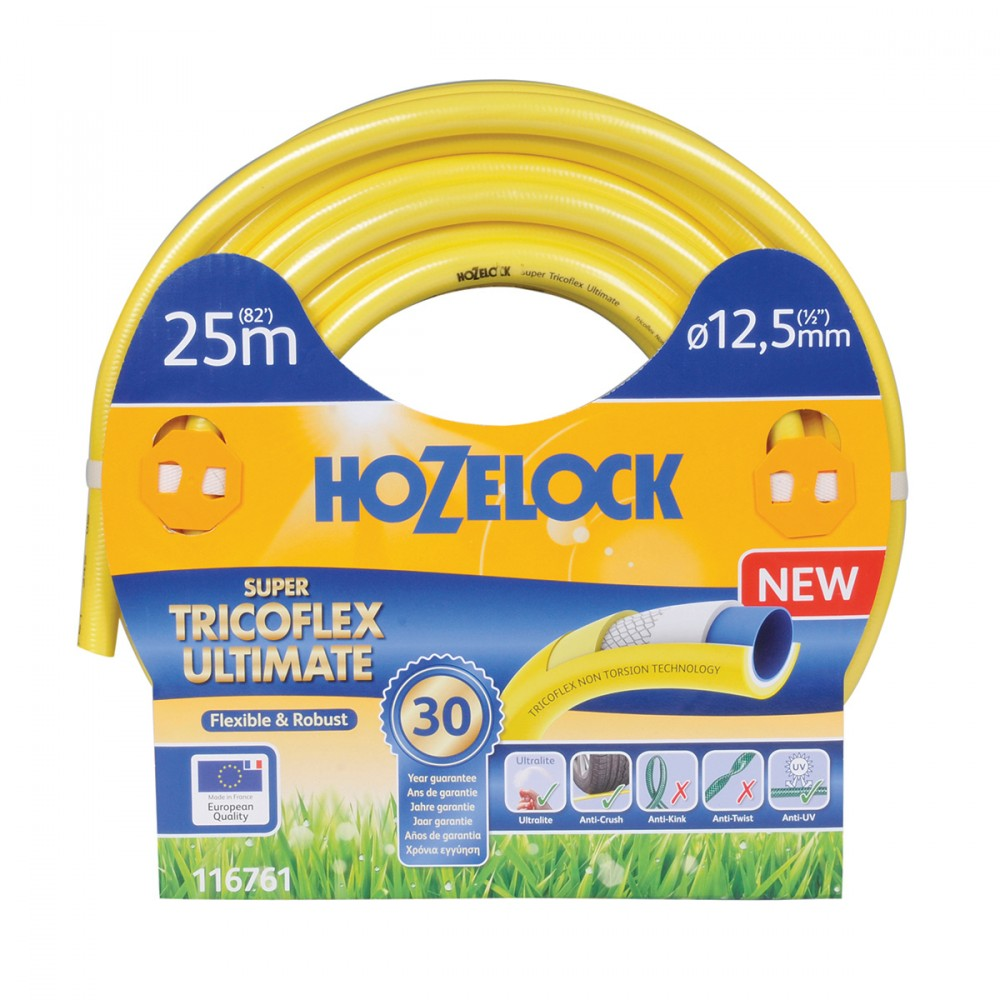 Tubo Super Tricoflex Ultimate Di Hozelock-exel Adatto All'utilizzo Intenso. Ha Una Lunghezza Di 25 Metri E Un Diametro Di 12,5 Mm, è Il Tubo Non Plus Ultra, Ultraleggero, Flessibile E Robusto. E' Privo Di Plastificanti Nocivi (pet) E Metalli Pesanti.