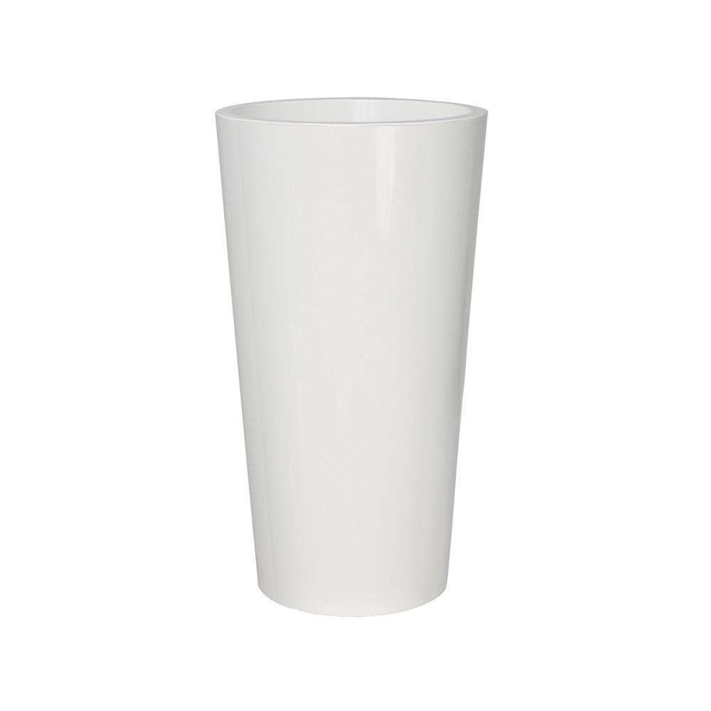 Vaso In Plastica Lucida Modello Tuit Di Euro3plast. Tuit è Un Vaso Elegante E Funzionale, Adatto Per Arredare Sia Ambienti Indoor Che Outdoor. E' Utilizzabile Come Coprivaso O Come Vaso, Ed è Progettato Per Permettere L'inserimento Di Un  Kit Riserva D'acqua . Al Suo Interno è Presente Un Container Dello Stesso Diametro Con Fondo Più Corto.