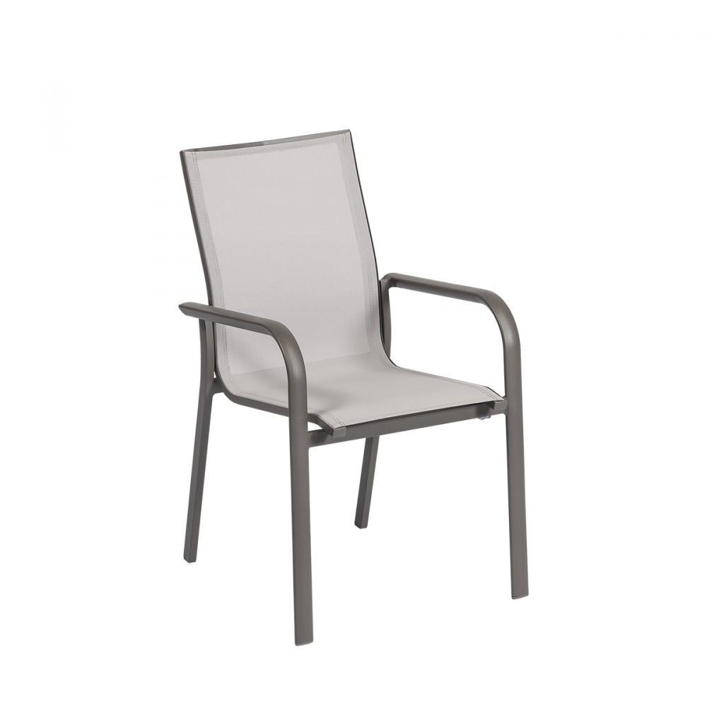 Sedia Stone Con Braccioli, Con Struttura In Alluminio Color Champagne E Seduta In Textilene Grigio.