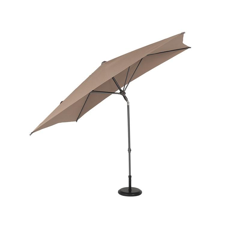 L'ombrellone Laurent è Un Ombrellone Da Balcone Con Palo Centrale In Alluminio Con Copertura In Poliestere 180 G/mq Color Taupe. E' Dotato Di Inclinazione E Pulsante Per La Chiusura. Ha Una Struttura In Alluminio (diametro 38 Mm) E 4 Stecche In Metallo (diametro 19 Mm).