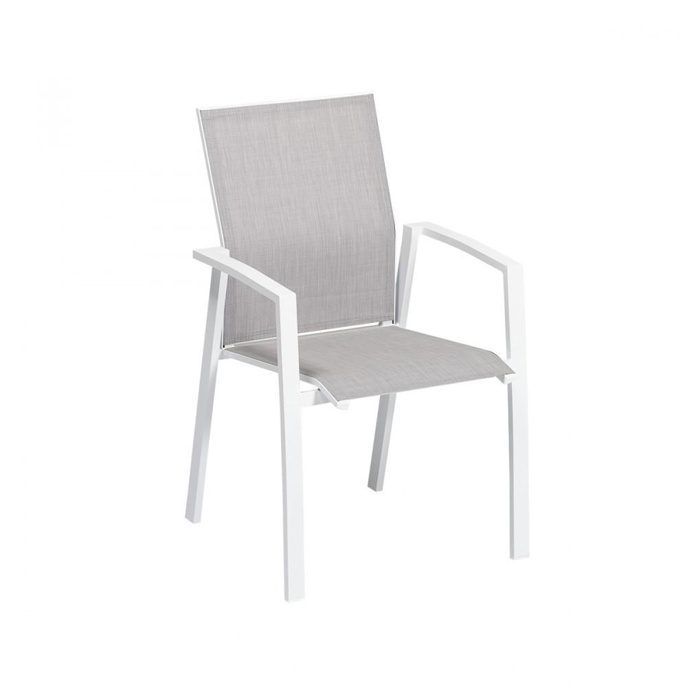 Sedia Spring Con Struttura In Alluminio Bianco E Seduta In Textilene Grigio.