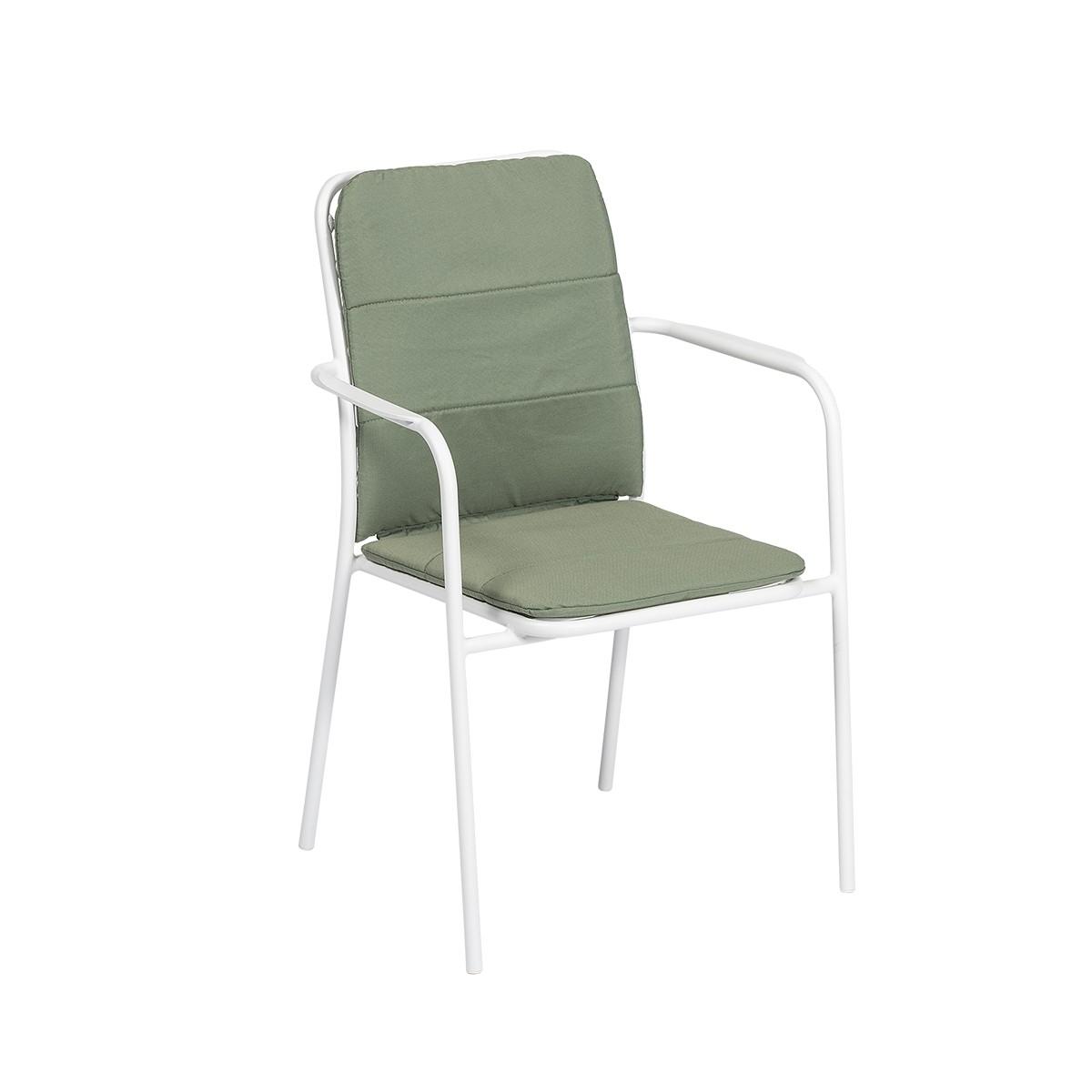 Sedia Ginger Con Braccioli, Struttura In Alluminio Bianco Con Seduta/cuscino Verde.