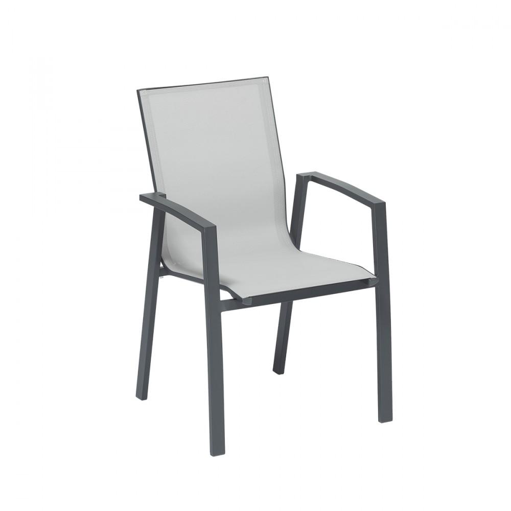 Sedia Newport Con Braccioli, Struttura Color Antracite In Alluminio E Seduta In Textilene Grigio.