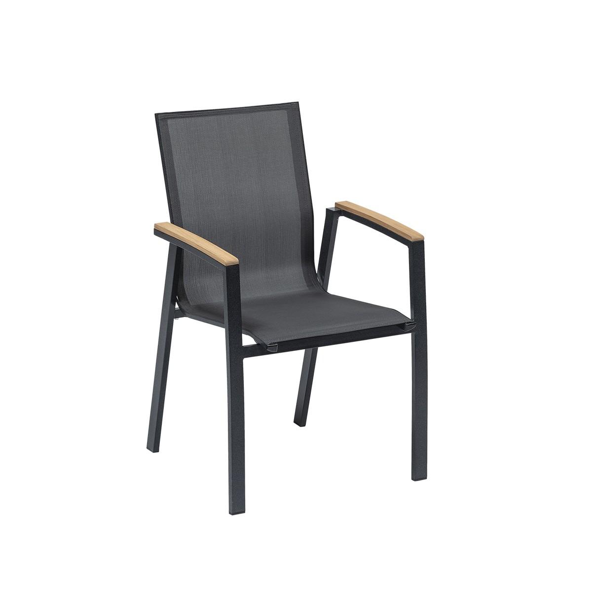Sedia T-black Con Braccioli, Struttura In Alluminio Color Antracite E Seduta In Textilene Grigio Scuro. I Braccioli Presentano Un Inserto In Ceramica Effetto Legno.