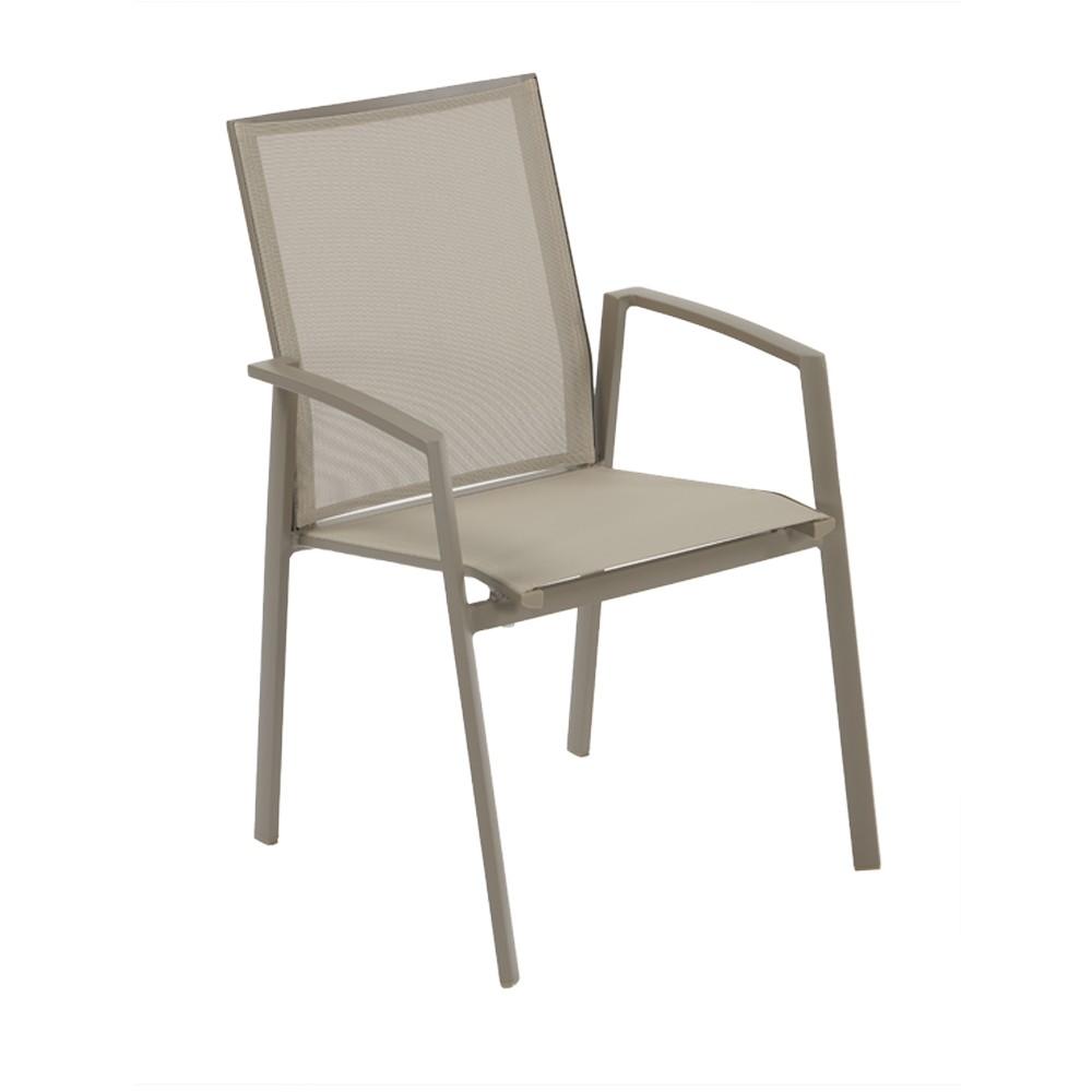 Sedia Con Braccioli Per Esterno Karol Alluminio Taupe E Texture Khaki Impilabile