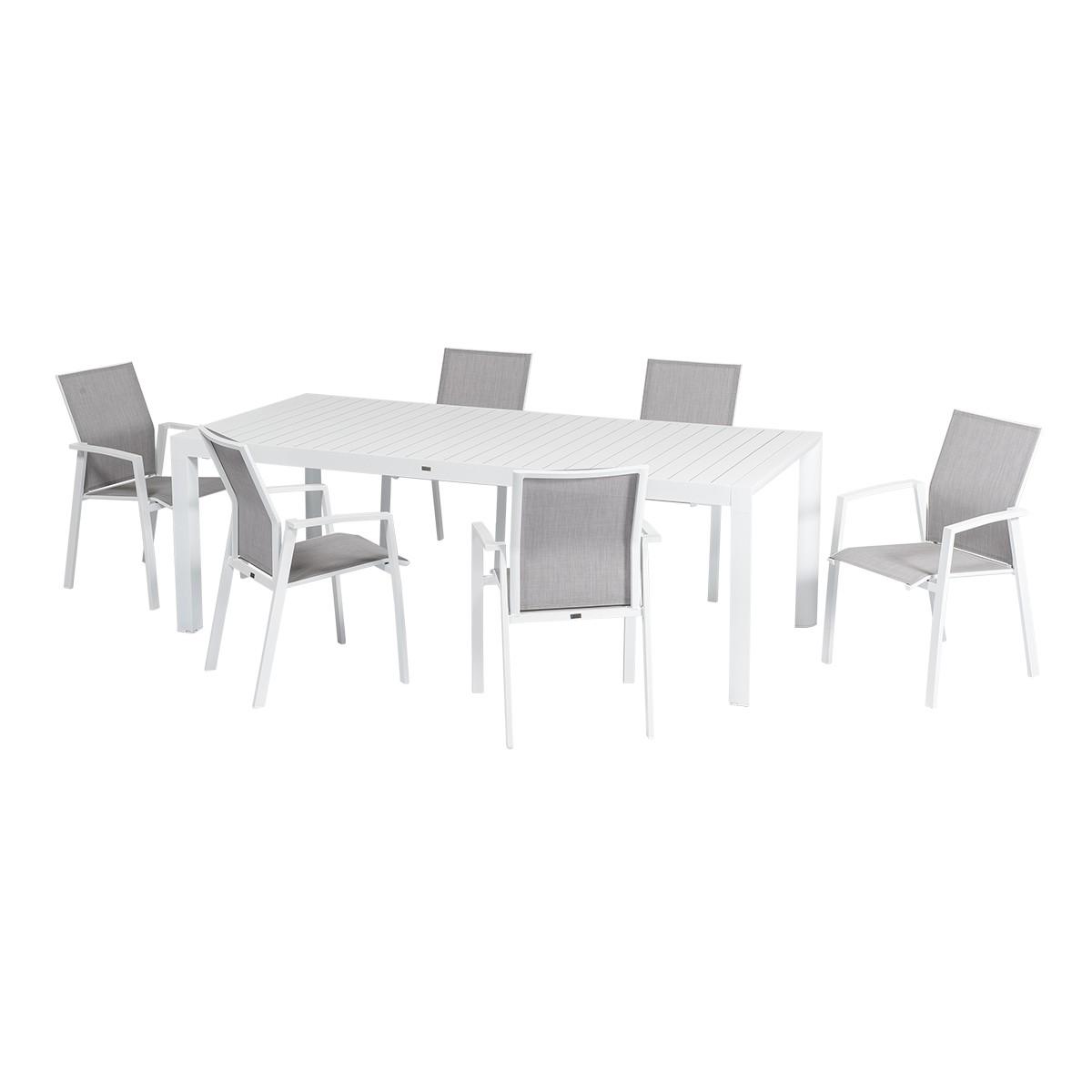 Il Completo Da Pranzo Linosa è Un Arredo Da Giardino Composto Da 1 Tavolo Allungabile E 6 Sedie. Il Tavolo Allungabile Ha Una Struttura In Alluminio Bianco E Le Sedie Hanno Una Seduta In Textilene Grigio.