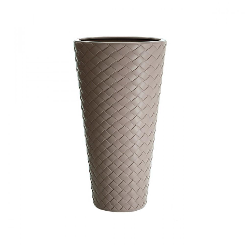 Vaso Alto Modello Matuba, 2 In 1 E Color Sabbia. Questo Vaso Ha Un Inserto Interno Estraibile Per Piante. Decorazione Con Effetto Intreccio.