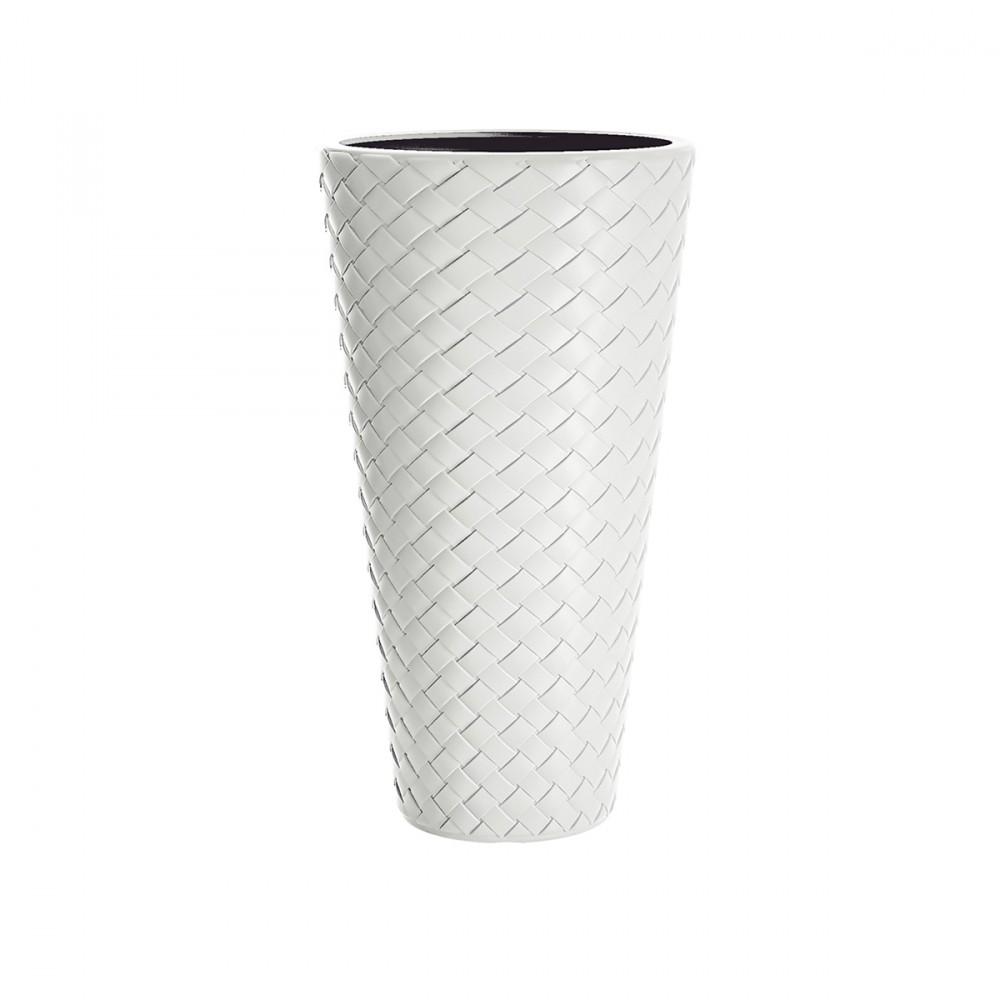 Vaso Alto Modello Matuba, 2 In 1 E Color Bianco. Questo Vaso Ha Un Inserto Interno Estraibile Per Piante. Decorazione Con Effetto Intreccio.