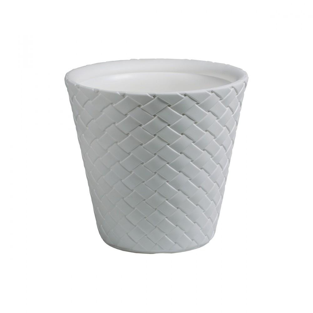 Coprivaso Modello Matuba Di Colore Bianco. Con Decorazione In Rilievo Tridimensionale Effetto Intreccio. Disponibile In Diverse Misure.