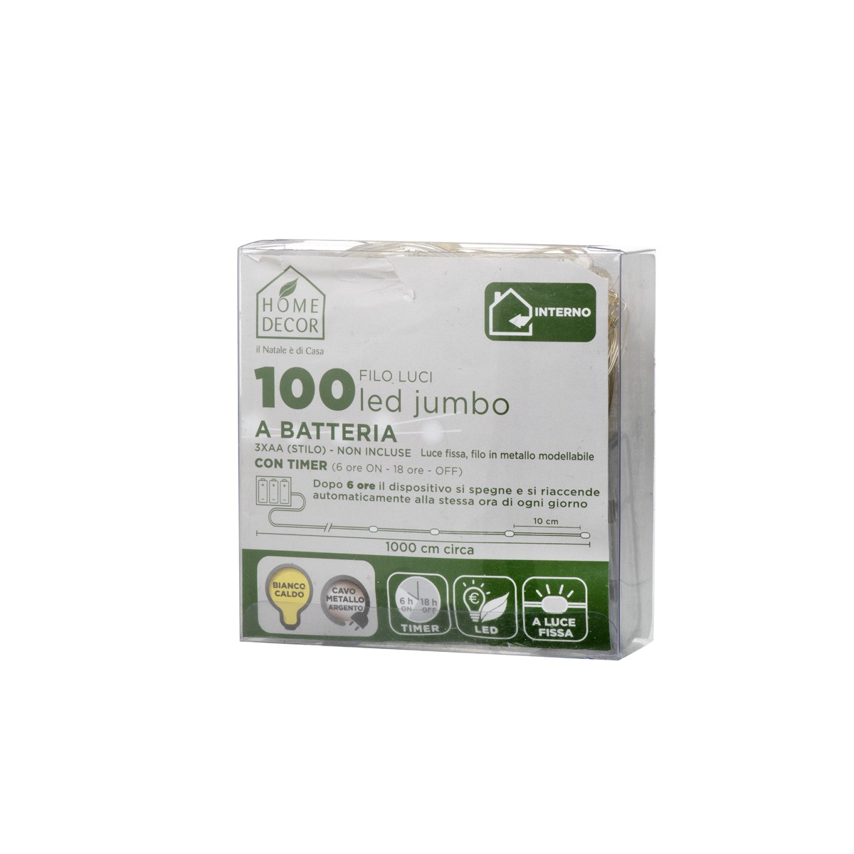 Catena 100 Led Jumbo Bianco Caldo A Batteria