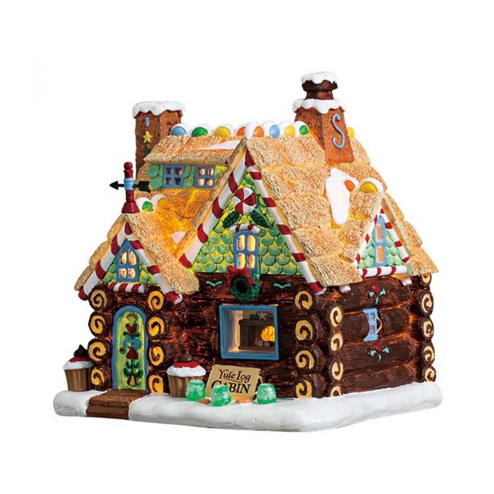 La Capanna 'yule Log Cabin' Di Lemax è Un Edificio Per Villaggi Natalizi In Poliresina Che Riimanda Alle Fiabe. L'edificio Si Illumina Per Creare Un'atmosfera Magica.