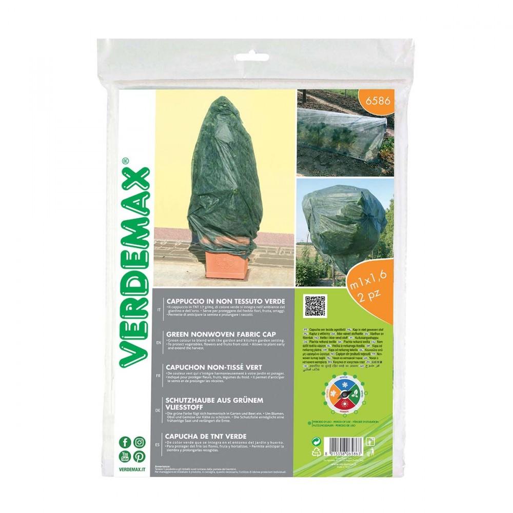 Cappuccio In Tnt Verde Ideale Per Tutelare Dal Gelo Le Piante In Vaso. Confezione Da 2 Pz.
