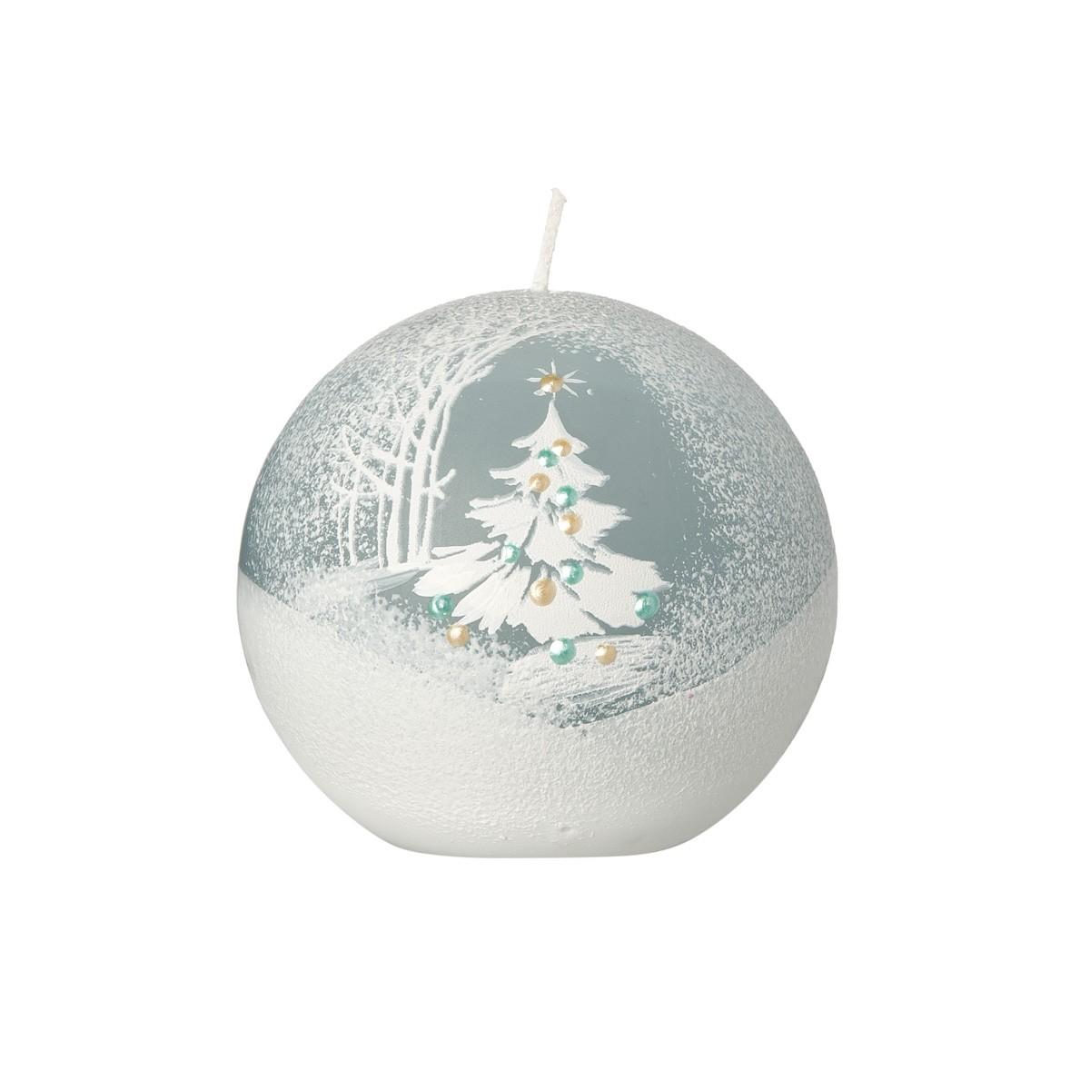 Candela Sferica Azzurra Con Albero Di Natale