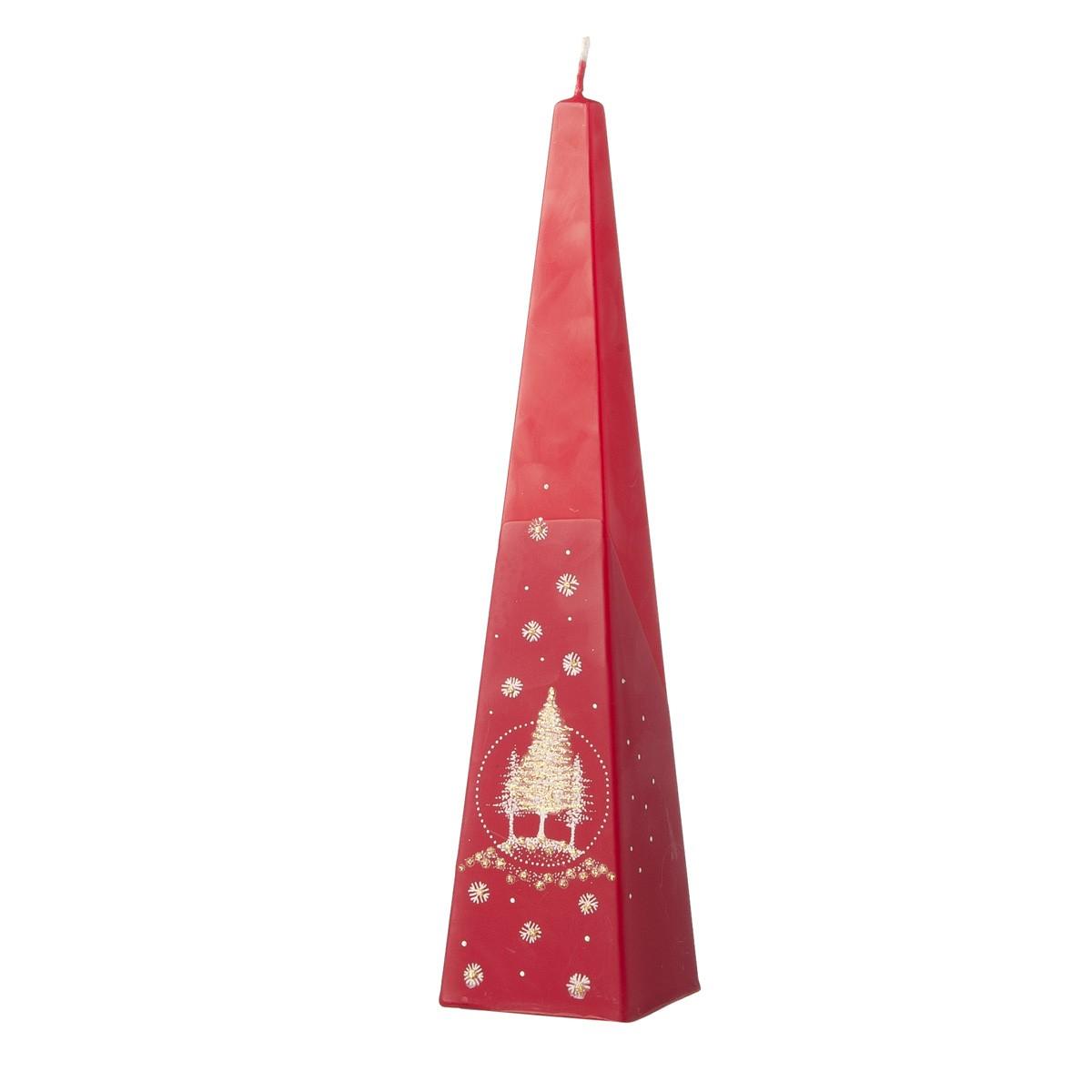 Candela Piramidale Rossa Con Alberi Di Natale